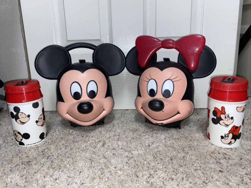 Vintage Disney Mickey and & Minnie Mouse Heads Aladdin Lunch Boxes W/ Thermos