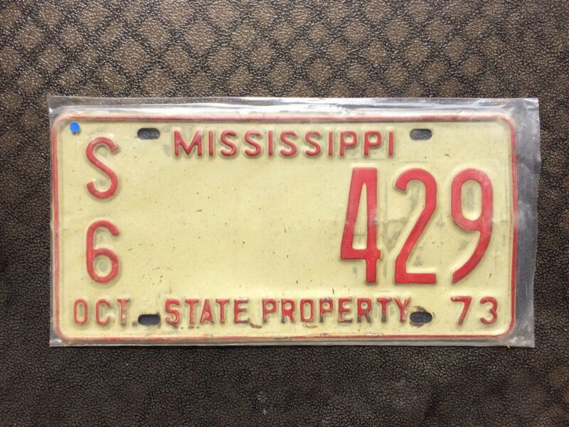 1973 MISSISSIPPI STATE PROPERTY LICENSE PLATE S6 429