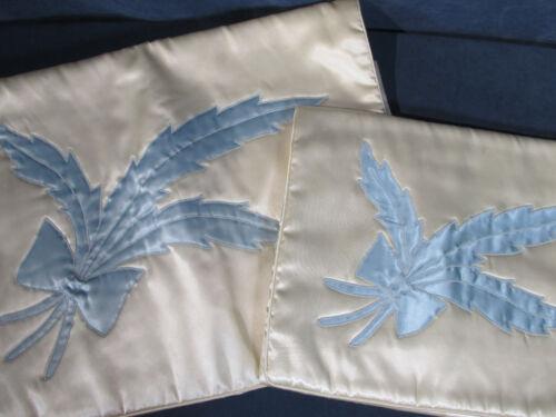 Lingerie Travel Storage Bags ILA Celanese Satin Rayon White Blue Flower Bridal
