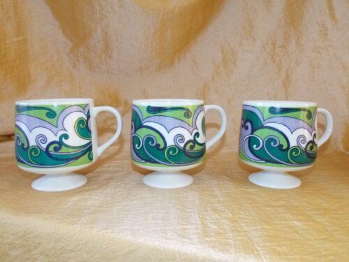 Vtg. Mid Century RETRO Holt Howard Pedestal Coffee Cups 1968 7633 Blue Green