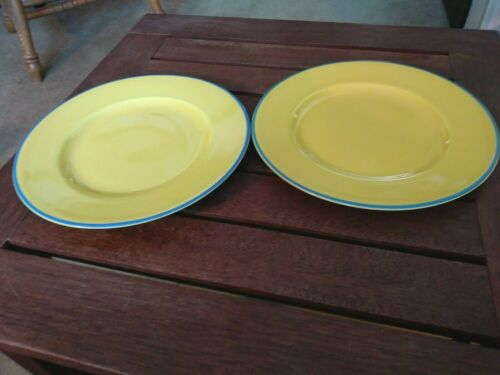 "Lot of 2 Mayfair Burleigh Staffordshire Yellow w/Blue Trim Salad Plates, 7 7/8"""