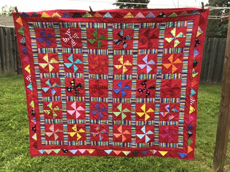 """New Red Cute Puppy Dogs Handcrafted Baby /Lap / Crib Quilt 46"""" X 52"""""""