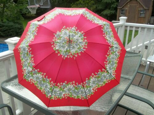 Vintage Red Floral Rain Umbrella with Red/White handle