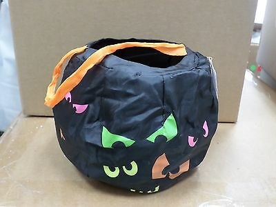 Halloween Trick Or Treat Collapsible Candy Bag Creepy Eyes Costume Black Orange