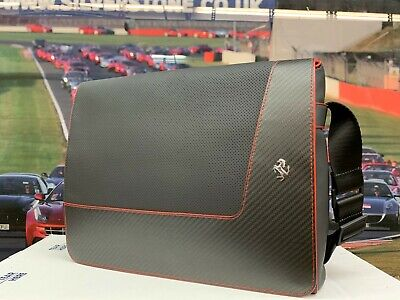 Genuine Ferrari Leather Laptop Bag In Carbon Black With Red Details #70004950