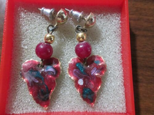 """Pink Dangle earrings Cloisonné  look goldtone. about 1.5"""" Length"""