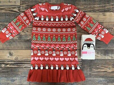 The Childrens Place NWT Girls Christmas Penguin Sweater Dress Tights 7-8