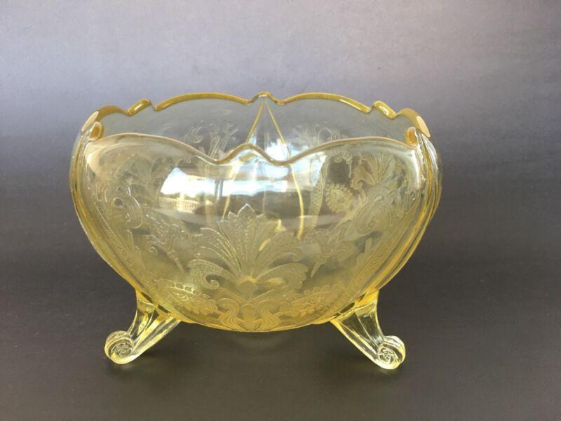 Lancaster Landrum Topaz Yellow Depression Glass Footed Rose Bowl