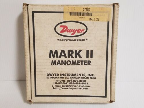 NOS DWYER MARK II LIQUID FILLED WALL MOUNT MANOMETER, 0-31N W.C, 3% ACCURACY