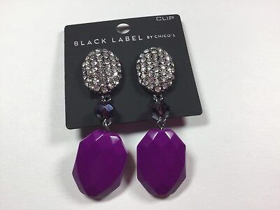 CHICO'S New Purple And Crystal Earrings Clip