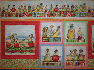 FRUIT LADIES OVERALL SQUARES COTTON FABRIC PANEL