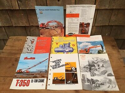 Collection Of 8 Vintage Bantam Hydraulic Hoe Crane Information Booklets Flyers