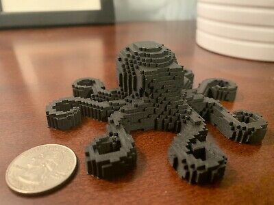 3D Printed Tabletop Decor Voxel Style Octopus Model D&D Dungeons and Dragons