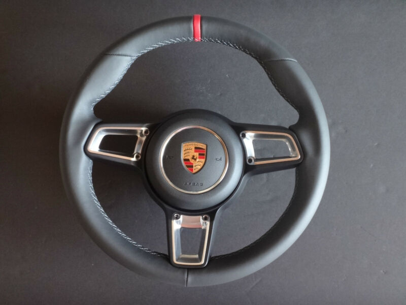 Porsche 991 991.2 Stick Turbo S 997.2 Gt Blk Lth Steering Wheel Red Top & A Bag