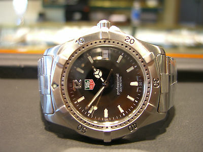 TAG HEUER MENS LINK BLACK DIAL STAINLESS STEEL PROFESSIONAL PRE OWNED WATCH