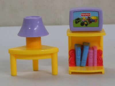 J0323 TV Living Room Lamp My First Dollhouse Fisher Price People Furniture Lot