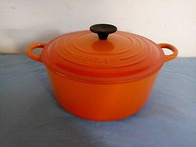 Le Creuset Cast Iron Volcanic Orange 20cm Round Casserole Dish Pot Pan With Lid