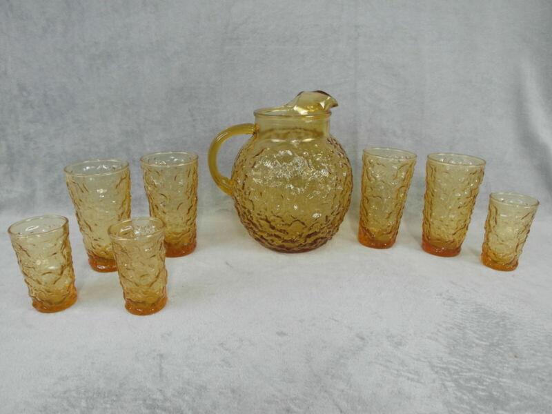 Anchor Hocking Amber Honey Bumpy Lido Milano Pitcher 4 Tumblers 3 Juice Glasses