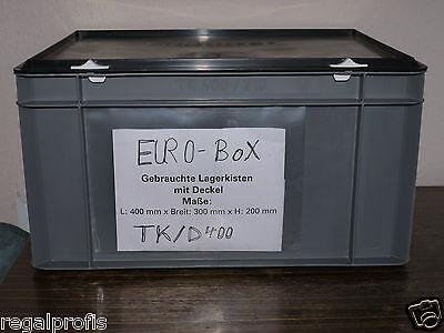10 Lagerkästen EUROBOX m. Deckel Stapelbox, Kiste, L/B/H ca. 400 x 290 x 200 mm