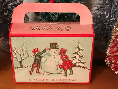 Early Candy Box Snowman Children Christmas
