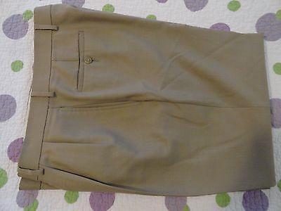 LAUREN Ralph Lauren~Total Comfort Khaki Tan WOOL Pleated Pants  32-33 x 27 EUC++