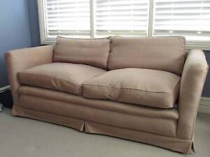 Two matching brown silk sofas with down cushions Mosman Mosman Area Preview
