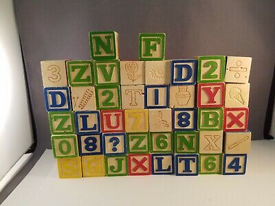 """Lot Of 42 Wooden Alphabet And Number Blocks 1 1/8"""""""