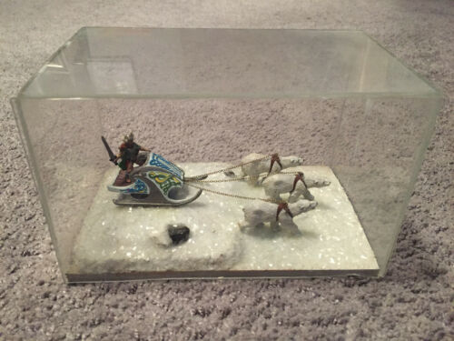 Handmade Dungeons & Dragons Hand Painted Viking Polar Bear Sledding Snow Scene