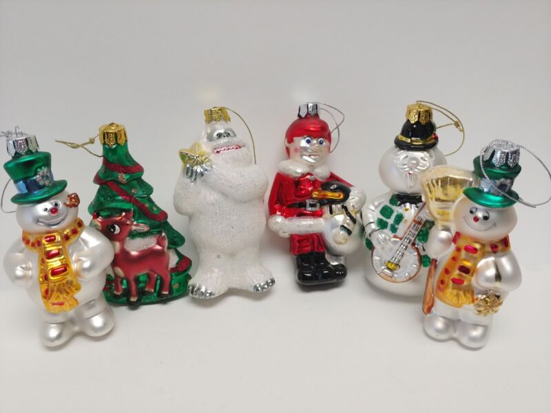 Rudolph the Red Nose Reindeer Glass Ornaments, The Brass Key Set of 6