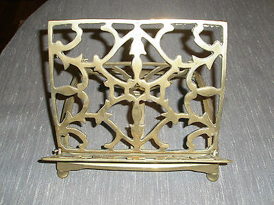 Vintage Brass Book Bible Music Cookbook STAND Easel Adjustable Collapsible