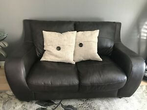 Chocolate brown leather couch and sofa