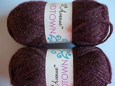 5th Avenue Midtown sparkly fashion yarn, Cabernet, lot of 2 (131 yds ea)