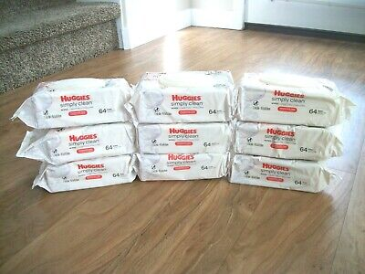 HUGGIES Simply Clean Baby Wipes, Fragrance Free, 9 packs of 64 total 576 wipes