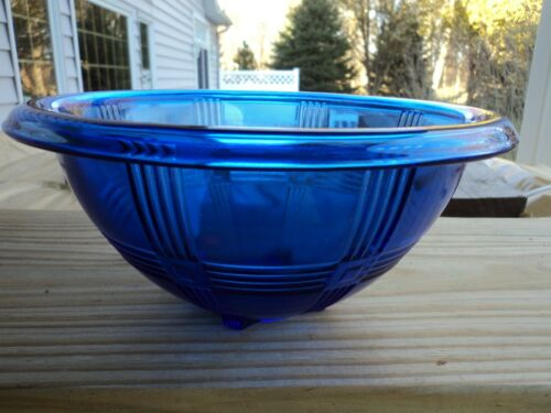 HAZEL  ATLAS COBALT BLUE CRISSCROSS  MIXING BOWL 9 5/8""