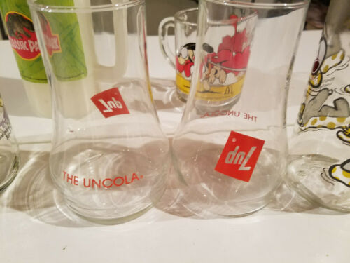 1980s Fast Food Collector Glasses 6 PC & 1 Plastic Cup.