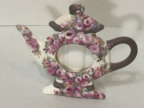 Tea Pot Picture Frame Hand Painted Ceramic Pink Floral Oval 2 1/2 X 2 1/4