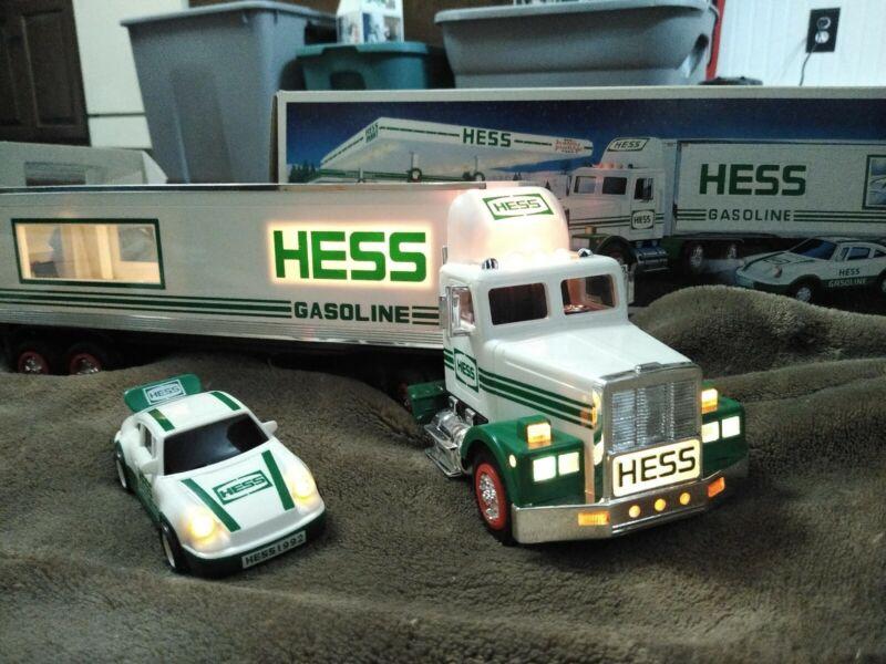 1992 Hess Truck 18 Wheeler and Racer Porsche Type in Original Box Works Well