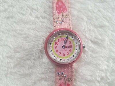 Swatch Flik Flak Swiss Made Pink Kids Analog Quartz Watch w/ Flower Canvas Band