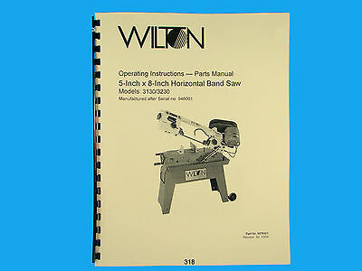 Wilton Model 3130 3230 Horizontal Band Saw Op Instruct Parts Manual 318