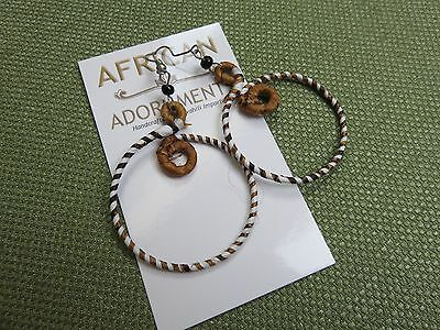 African Ethnic Jewelry FAIR TRADE BANANA FIBER HOOP EARRINGS KENYA C   (Fair Trade Banana)