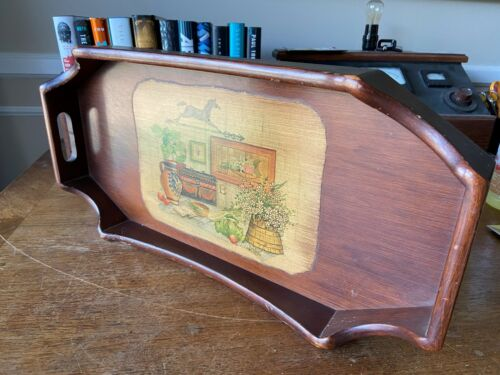 Vintage Wood Decoupage Serving Tray