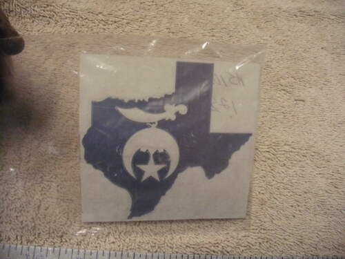 Texas Shriner Vehicle Decal, Unused cond, see pictures, Made to go on the Inside