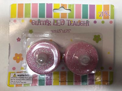 REGENT PRODUCTS glitter led tealight color baby pink 3pk (8E6-023-3*A)