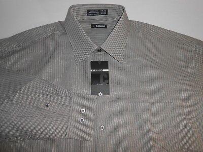 Claiborne Mens Dress (Claiborne Mens Designer L/S Gray Striped Dress Shirt 17 ½ 34/35 XL NEW)