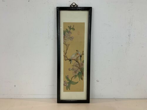 Vintage Asian Chinese Likely Chinese Painting on Silk of Birds on Tree