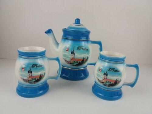 Presov Slovakia Souvenir Teapot and Cups Aureta Figural Czech Republic