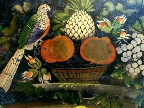 Antique Metal Toleware Tray - 19th C French Victorian Tole Painted = Rare