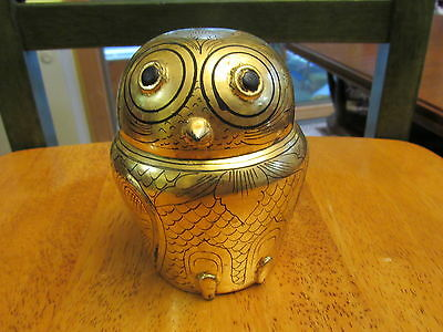 Gold Laquer Box Owl Made in Burma
