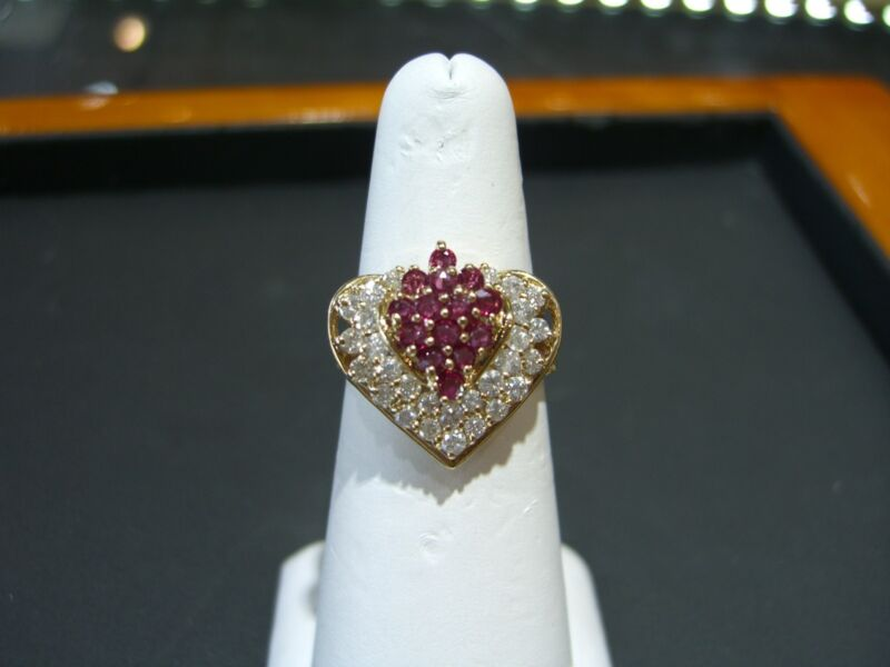 Fine Womens 14 Karat Yellow Gold Ruby And Diamond Heart Ring Size 8.5 Wow!!!!