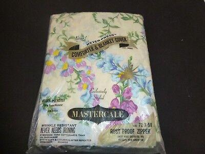 NOS Vtg Mastercale Comforter Blanket Cover W/ Zipper Purple Blue Floral 72x90